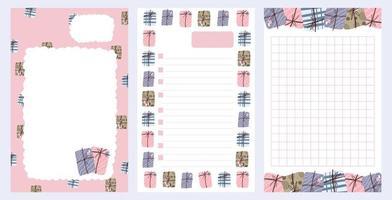 kerstvakantie sticker, dagboek, notities ingesteld