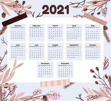 vakantie 2021 kalender met takken