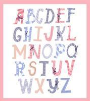schattig kerst alfabet vector
