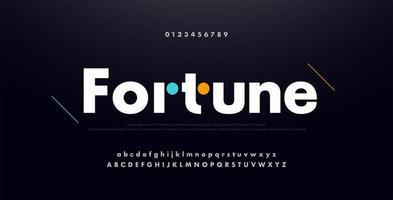 stedelijke moderne alfabet lettertype met cijfers