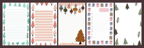 kerstvakantie dagboek, blocnote set vector