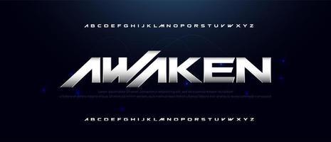 sport moderne technologie metallic lettertype