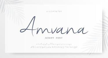 elegant script alfabet en cijfers lettertype