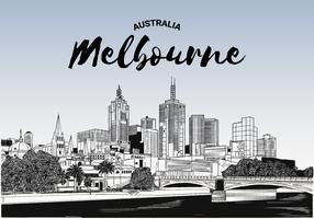 Melbourne Skyline Vector Schetsmatige Illustratie