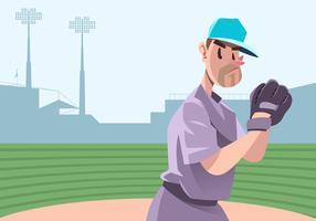 Pitcher Met Softball Glove Vector
