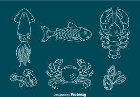 Schets Seafood Collection Vector