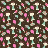 verjaardag naadloos behangmeisje en ballon