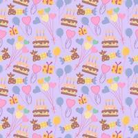 naadloze schattig ballon en cake achtergrondpatroon