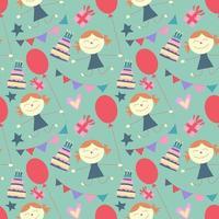 naadloze schattig meisje en ballon patroon