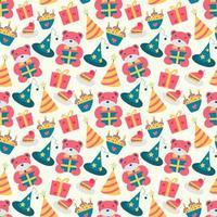 gelukkige verjaardag patroon met beer