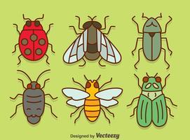 Insecten Verzameling Op Groene Vector