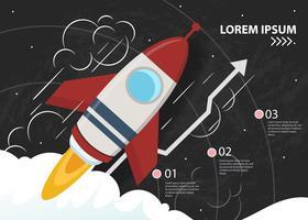 Inkomsten van het bedrijfsleven met raketcijfer vector