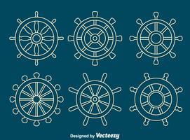 witte lijn schepen wiel vector