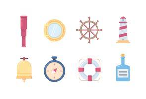 Marine en schip iconen vector