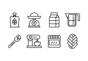 Challah brood maken set iconen vector