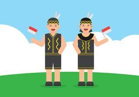 Dayak Jongen En Meisje Draagt Traditionele Jurk En Hou Indonesische Vlag Cartoon vector