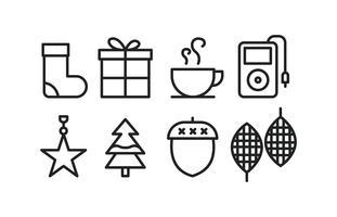 Winter iconen in lijn stijl