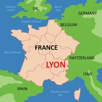 Lyon Kaart vector
