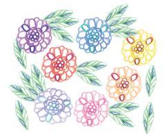 Vector Hand Getekende Bloemen