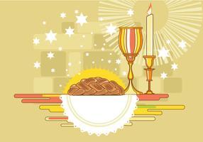 Shabbat afbeelding met Challah Bread Vector
