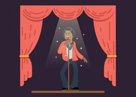 James Brown zingt op het podium vector