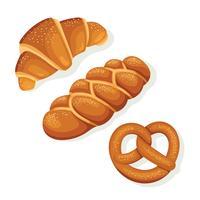 Croissant. Challah, Pretzel Brood Illustratie vector