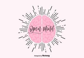 Open mind vector concept met menselijke hersenen