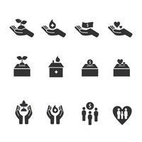 Vriendelijkheid en zorg Vector iconen