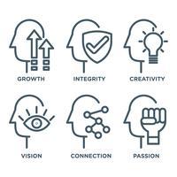 Persoonlijke vooruitgang Vector iconen