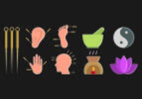 Set van acupunctuur pictogram