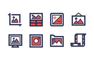 Fotografie Icon Set met Duotoon kleuren vector