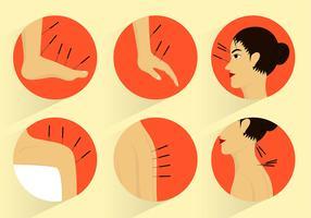 Acupunctur Set Gratis Vector