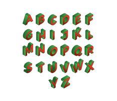 Kerstmis rood en groen 3D-lettertypen isometrische gratis Vector