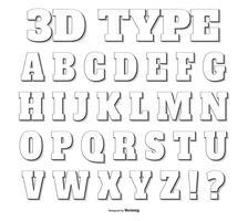 in de schaduw gestelde 3d typeverzameling