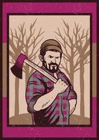 Lumberjack dragende Axe Vector