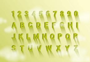 3D-lettertypen met schaduwvectoren