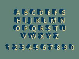 3D-lettertypen Vector in retro stijl