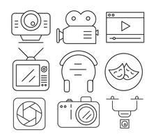 Lineaire video-iconen vector