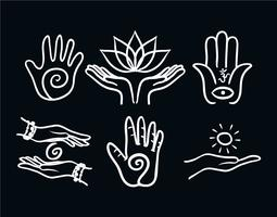 Genezing hand vector set