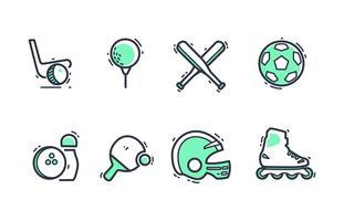 Sportmateriaal Icon Pack met duotoon kleuren vector