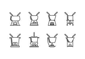 Caquelon fondue ingesteld lineair pictogram vector