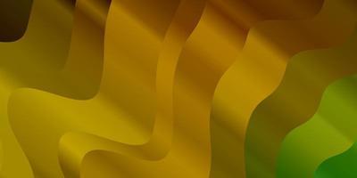 donkergroene, gele vectortextuur met wrange lijnen.