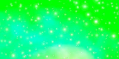 lichtgroene achtergrond met kleine en grote sterren. vector