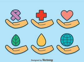 Genezing Handen Op Blauwe Vector
