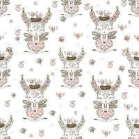 naadloze patroon met schattige bosfeeën vector
