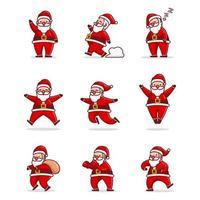 schattige kerstman gebaar ontwerpset vector