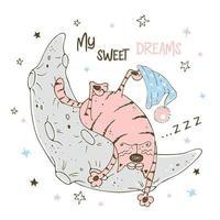 schattige kleine auto die zoet op de maan slaapt