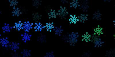 donkerblauwe, groene achtergrond met virussymbolen.