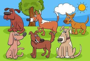 cartoon honden en puppy's stripfiguren groep