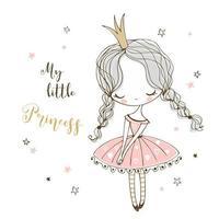 schattige kleine prinses in doodle stijl vector